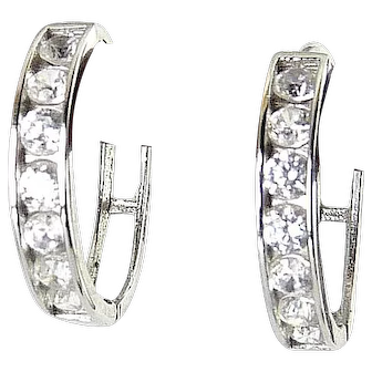 14K White Gold & Channel Set CZ Stones Hinged Hoop Earrings