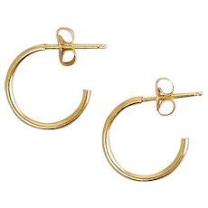 14K Yellow Gold J-Hoop Earrings, Pierced - 3/4 Hoops