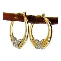 14K Yellow & White Gold X Kiss Hoop Earrings, Pierced, 2-Tone Gold Hoops