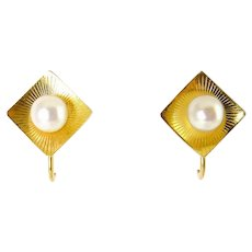 Moderne 14K Yellow Gold Square Earrings with Round Pearls, Screw Back, 3 Grams
