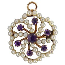 Victorian 14K Gold, Amethyst & Seed Pearls Flower Pin Pendant, Convertible