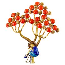 Vintage 14K Gold & Coral Tree with Asian Man with Flute Brooch Pin, 1950s