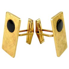Vintage Avedon 14K Yellow Gold & Onyx Long Cufflinks, Monogram Can Be Removed