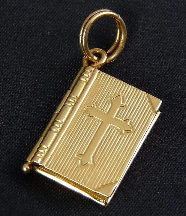 14k yellow gold book locket pendant with lords prayer 2 pages 14k yellow gold book locket pendant with lords prayer 2 pages opens closes aloadofball Choice Image