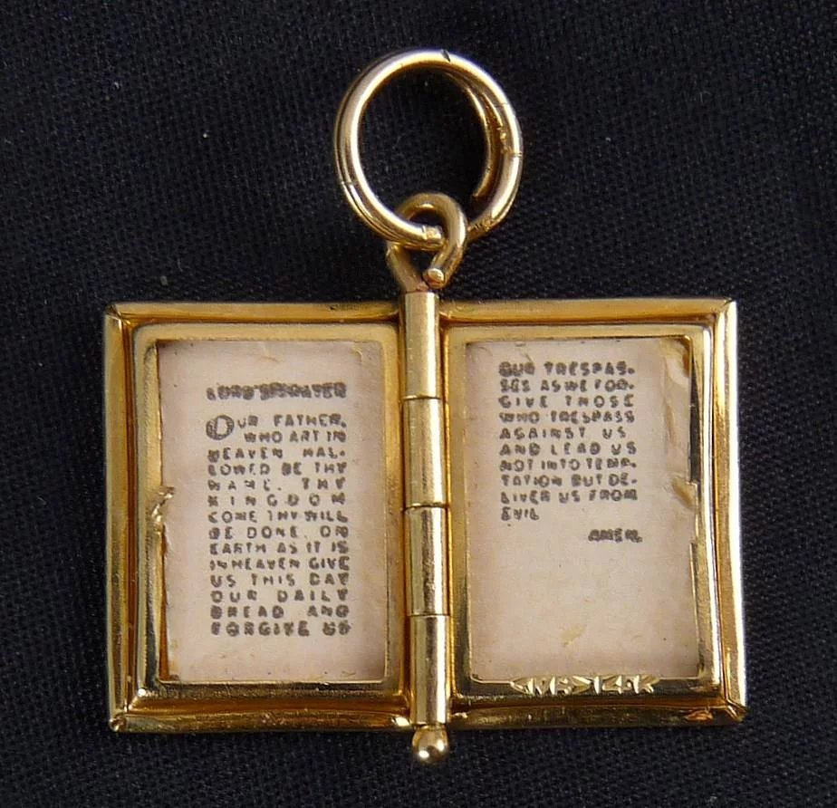 14k yellow gold book locket pendant with lords prayer 2 pages click to expand aloadofball Images