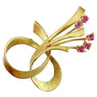 1950's 14K Yellow Gold Ribbon Loop & Spray Pin with Rubies, 6.7 Grams