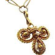 15K Gold Antique C1825 Flower & Pearl Pendant Necklace, Cannetille, Early Etruscan Revival, Georgian