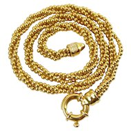 18K Yellow Gold 3-Strand Ball Shot Bead Necklace, VEGA Italian, 22 Grams