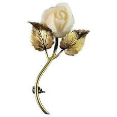 18K Yellow Gold Carved Angel Skin Coral Rose Pin Brooch,