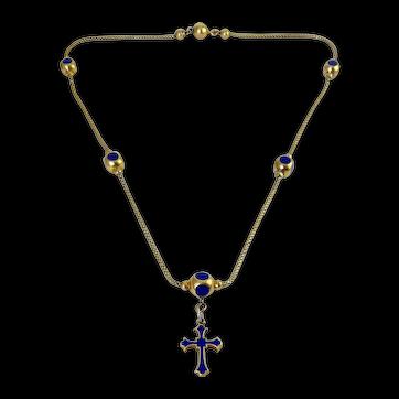 Rare Antique 18K Yellow Gold & Cobalt Enamel 5-Bead Cross Rosary Necklace