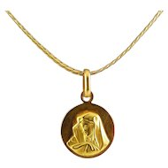 18K Italian Yellow Gold Madonna Pendant on Herringbone Necklace Chain