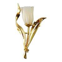 18K Gold & Angel Skin Tulip Flower Brooch Pin, Flower on Stem, 3-D Design, 7.4 Grams