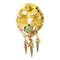 Antique c.1870 French 18K Gold Brooch with Emerald & Diamonds, Torpedo Drops
