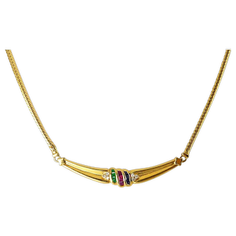 18K Yellow Gold, Ruby, Emerald, Sapphire & Diamond Arc Necklace, Invisibly Set Gems