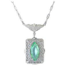 1920's Art Deco Rhodium Plated Filigree Pendant with Green Zircon Crystal Marquise