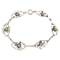 1930s-40s Sterling Silver Oval Links & Flowers Bracelet