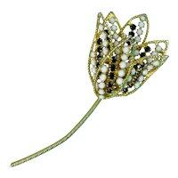 "1960's Large Black & White Rhinestones Mod Flower Pin, Vintage Flower Bud Brooch, Layered Petals, 3 3/4"" Long"