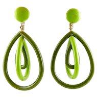 1960's MOD Lime Green & Olive Nested Hoop Dangle Earrings