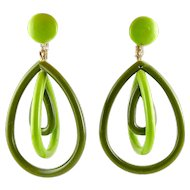 1960's MOD Lime Green & Olive Nested Hoop Dangle Earrings