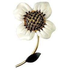 Mod 1960's White & Black Enameled Flower on Stem Pin, Black Rhinestones Pave' Center