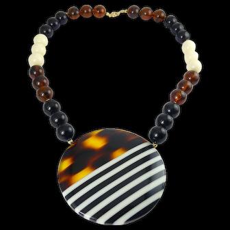 1970's Lucite Acrylic Faux Tortoise, Black & White Stripe Circle Pendant, Beaded Necklace