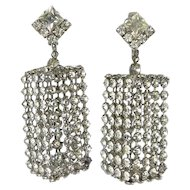 Big 1970's Rhinestone Column Pendant Earrings, Disco Diva