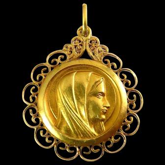22K to 24K Gold Madonna Medal Pendant, Filigree Frame, 2.9 Grams