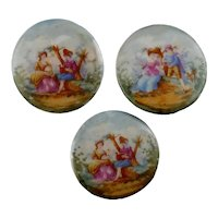 3 Antique Porcelain Pastoral Romantic Buttons, Large NBS