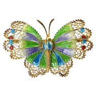 European .800 Gilt Silver Filigree Butterfly Pin with Plique A Jour Enamel, Multicolor