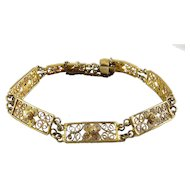 Cannetille Filigree Gilt .800 Silver Link Bracelet with Flowers