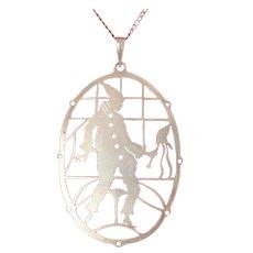 Art Deco .800 Silver Pierrot Silhouette with Mini Puppet Pendant Necklace
