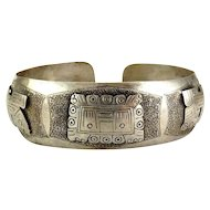 .900 Silver Aztec Mayan Cuff with Pre Columbian Mask & Animals - Peru