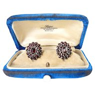 Antique Victorian .950 Silver Gilt Bohemian Garnet Pierced Earrings, Long Jeweler, Boston