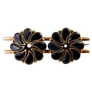 Victorian 9K Rose Gold & Black Glass French Jet Double Flower Pin