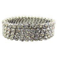 1960's Crystal Rhinestone Expansion Stretch Bracelet - 4 Rows, Cha Cha Style