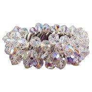 1960's AB Crystal Beads Expansion Stretch Bracelet - Super Sparkle