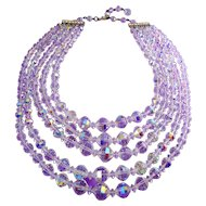 Vintage 5-Strand Aurora Borealis AB Graduated Crystals Necklace, Adjustable
