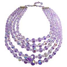 Vintage 5-Strand Aurora Borealis AB Graduated Crystals Necklace, Adjustable