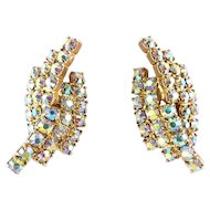 1960's Aurora Borealis Rhinestone Earrings - Hugging Curved Arcs, Clip On