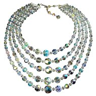 Dazzling Austrian Crystal AB Beads 5-Strand Necklace, Adjustable Rhinestone Hook Clasp