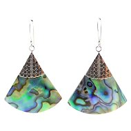 Multicolor Abalone Fan Earrings, Sterling Silver Tops, Bali Style