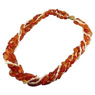 Amber & Freshwater Pearls 6-Strand Necklace - Torsade or Loose Strand Styles