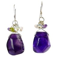 Large Faceted Amethyst Nuggets Drops with Semi Precious Bead Dangle Earrings