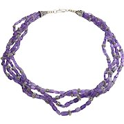 Amethyst & Sterling Silver Four Strand Necklace - Bali Silver Beads