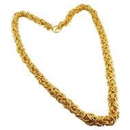 Hefty Anne Klein Byzantine Chunky Chain Necklace, 1980's Power Jewelry