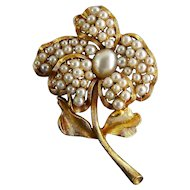 Anne Klein Gold Plated Flower Brooch Pin with Faux Pearl Pave'