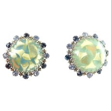 1960's Big Button Earrings with Mother-of-Pearl in Lucite & Rhinestones