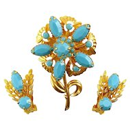 Vintage 1960s Aqua Rhinestones Flower Brooch & Clip On Earrings Set