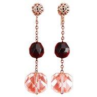 Art Deco Crystal Quartz & Black Beads on Chain Earrings, C1925, Screw on Filigree Tops