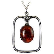 C1900 Arts & Crafts Sterling Silver & Amber Large Pendant with Embedded Petals & Leaves, Sterling Necklace